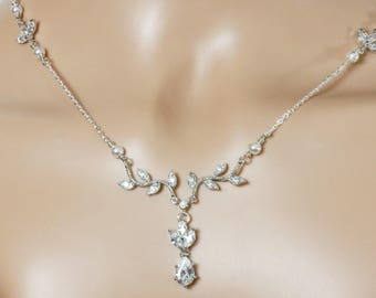 Bridal silver leaf vine necklace, crystal pendant drop, Sterling 925, Swarovski pearl, made to measure, wedding, prom, mother  bride