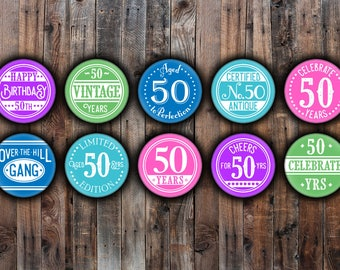 Set of 10 - 50th Birthday party colorful pin back buttons.
