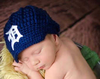 READY TO SHIP! The Original- Detroit Tigers Inspired Newborn Crochet Newsboy Hat with Old English D Patch / Photo Prop / Ready To Ship