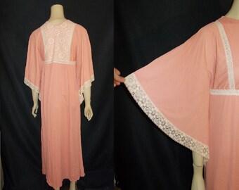 Dusty Rose ROMANTIC Flutter Sleeve Vintage 1970's Lace MAXI Boho Dress XS S