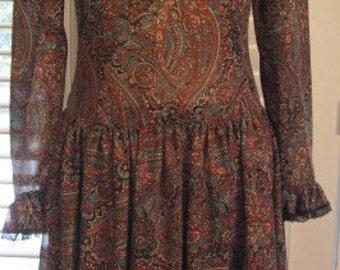 1970s Victor Costa For Neiman Marcus Semi-sheer Paisley Dress