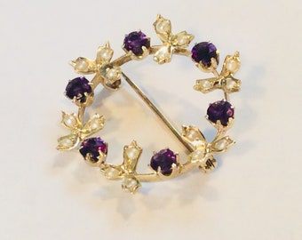 14K Victorian yellow gold amethyst seed pearl brooch #589 S
