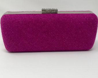 Cerise and pink clutch bag - Pink and cerise evening purse - Harris Tweed pinki clutch bag - Harris Tweed evening purse - Magenta clutchbag