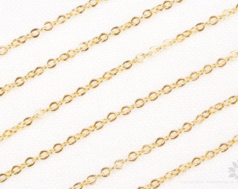 C100-G// Glossy Gold Plated Small Cable Chain, 1M