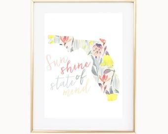 Sunshine State of Mind | Florida Map Art Print, The Sunshine State, Bohemian Beach House Decor,  Palm Beach Style Wall Art