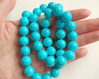 Turquoise colored South Sea Shell Pearl Rounds 10 mm, 16 inch full strand N3129