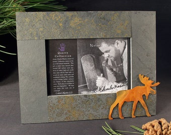 Natural Stone and Metal Frame - 4x6 Moose on Mixed Slate