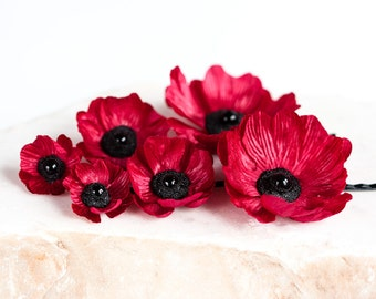 737 Red poppy hair pins, flower hair pins, Silk flowers, floral hair pin, Red flower hair accessory, Hair accessory flower, Silk floral pins