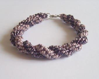 Bracelet double spiral amethyst and lavander