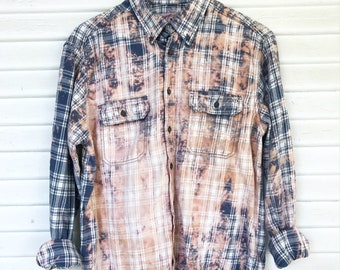MEDIUM - Flannel Shirt - Bleached - Vintage Washed Flannel - Oversized Flannel - Distressed Flannel - Plaid Shirt - Fall Shirt