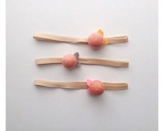 felt flower  headband + clips