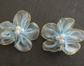 2 sky blue color flowers for scrap satin fabric.