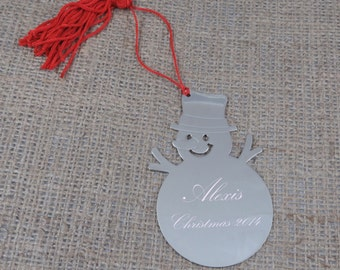 Snow Man Christmas Ornament- Personalized- Childrens gift- Christmas gift