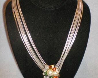 Rare ALICE CAVINESS 6 Silver Strand Mash Necklace & Earring Set Rhinestone Pearl