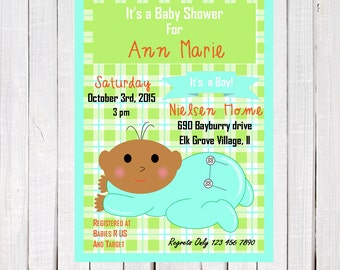 Baby Shower invitations, African American boy shower invitation, ethnic, boy baby shower invitation,  invitation, printable, printables