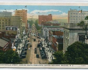 Fayettville Street Scene Raleigh North Carolina 1928 postcard