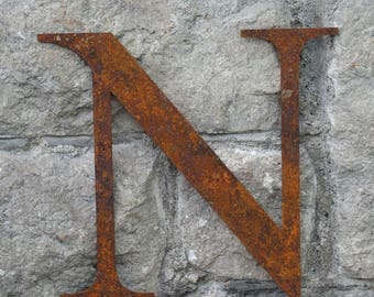 Flat Metal Rusty Letter N / Metal / Letter / Garden / Industrial / Vintage / Rustic / Floral / Gift / Wedding / Home / 25cm