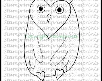 Valentino Owl (TLS-1718) Digital Stamp. Cardmaking.Scrapbooking.MixedMedia.