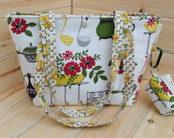 Vintage Kitchen Snap Bucket Tote Zipper-Free Medium Project Bag with Matching Notions Pouch Handmade