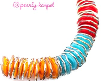 Orange, light blue, red disc, lampwork beads, lampwork glass beads, glass beads, lampwork beads sra, handemade lampwork, glass beads,  MTO