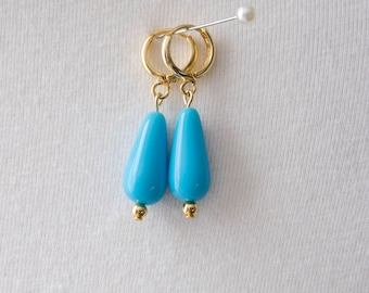 Regency Reproduction Turquoise Glass Drop Hoop Earrings. Blue and Gold. 18th Century, 19th Century, Georgian, Victorian, Historical.
