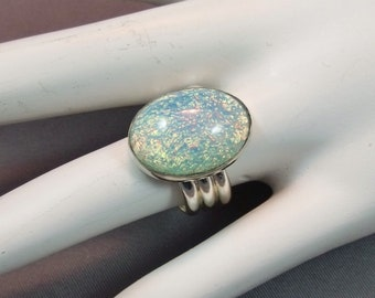 Vintage Aqua Opal Sterling Silver Ring, Aqua Opal Sterling Statement Ring, Handcrafted Opal Statement Ring