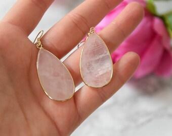 SALE - Blush Pink Rose Quartz Boho Earrings - Modern Elegant Boho Earrings - Boho Jewellery - Boho Jewelry, Bohemian, Fashion Jewelry, Gift