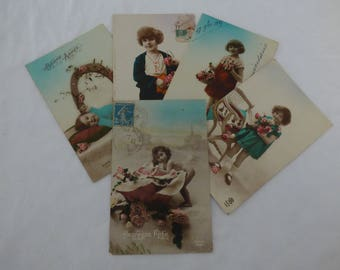 French Vintage Postcards of children x 5