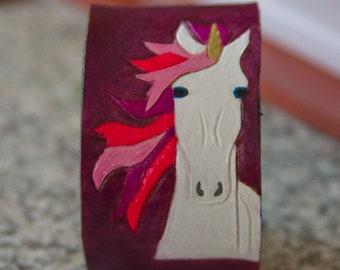 Purple Leather Unicorn cuff