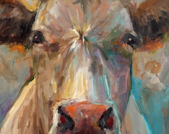 Cow Painting - Freida - Paper Print of an original painting by Cari Humphry