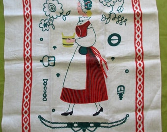 70s new, unused vintage Tampella linen dish towel - made in Finland