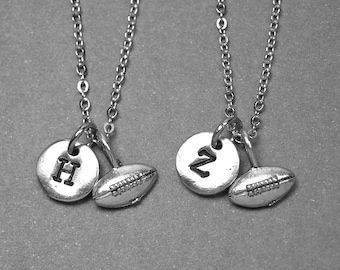 Best friend necklace, football necklace, sports necklace, bff necklace, sister necklace, friendship jewelry, personalized necklace, initial