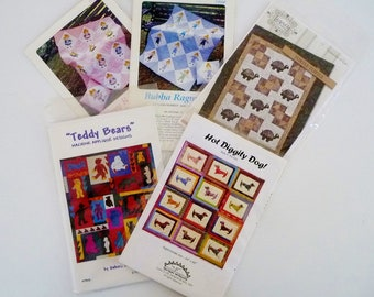 Quilt Pattern LOT of 5, Destash Baby Children Patterns, Bubba and Sissy Ragmuffin, Teddy Bears, Turtles, Hot Diggity Dog Weiner Dog, All New