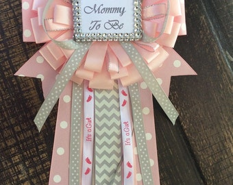 Little princess baby shower mommy to be pin - little princess corsage- pink and gray baby shower- mommy to be corsage- princess baby shower