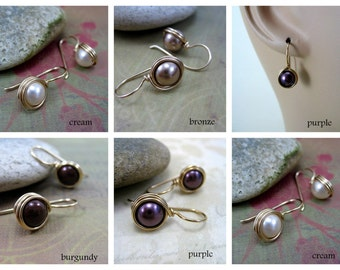 Small Swarovski Pearl Earrings, Petite Swarovski Pearl Drops, Gold Filled, Wire Wrapped, CHOOSE YOUR COLOUR