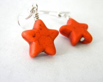 Orange Star Dangle Earrings Stone Earrings 15mm