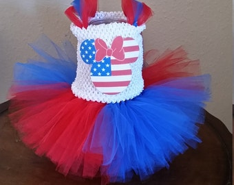 Birthday Red, White and Blue 4th of July Patrioric American Minnie Mouse Costume Girl Tutu Dress