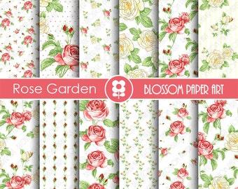 Digital Scrapbook Paper Floral Digital Paper Red Roses Digital Paper Pack, Floral digital backgrounds, Cottage Papers- 1842