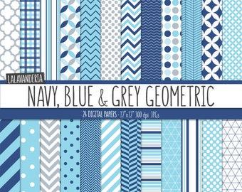 Geometric Digital Paper Package. Navy, Blue and Grey Backgrounds. Navy Blue Printable Papers Set - Geometrical Patterns. Digital Scrapbook