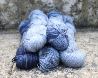 Indigo - Hand Dyed Sock Yarn - Baby Alpaca Silk and Cashmere - 100g 400m - Ready to Ship