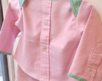 Pink Plaid cotton and green yoke shirt 6-12 months