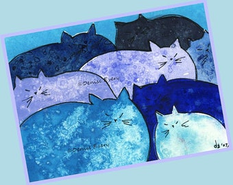 Blue Meatloaf Chunky Kitties Cat Art Print Abstract Cat Art Cat ACEO Cat Lover Cat Gift Cat Print Whimsical Cat Art Blue Kitties Kittens