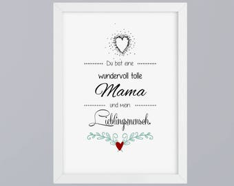 Mama Favorite man-art print without frame