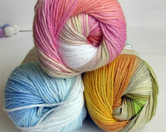 Cotton yarn, self striping, classical unbrushed, colorful mix., choose 1 or take all 3 colors