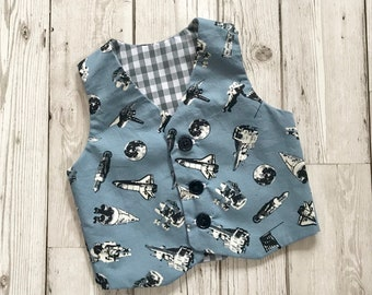 Space Boys Clothing - Patterned Waistcoat - Newborn Baby Outfit - Blue Waistcoat for Boys - Space Print Waistcoat - Boys First Birthday