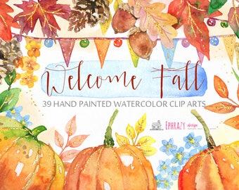 Fall Watercolor Clipart, Watercolor clipart, Fall clipart, Autumn clipart, Fall digital, Autumn digital, Pumpkin clipart, Acorn