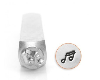 Music Note Metal Design Stamp 6mm - ImpressArt - Music Design Stamp - Double Sixteenth Notes