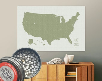 Vintage Push Pin USA Map (Moss) Travel Map Push Pin Map Gift Road Trip Map of the USA on Canvas Personalized Gift For Family Name Sign