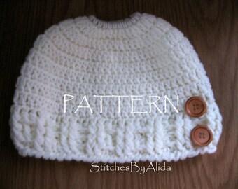 Crochet Messy Bun Hat Pattern, PonyTail Hat Crochet Pattern, Crochet Pattern, Cotton for Summer, Acrylic for Winter, Ponytail Hat Pattern