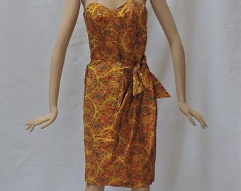 Hawaiian Sarong Dress Tiana Pittelle Designer Pin Up Bombshell Wiggle Frock Vintage